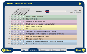 Interest Profiler screen shot
